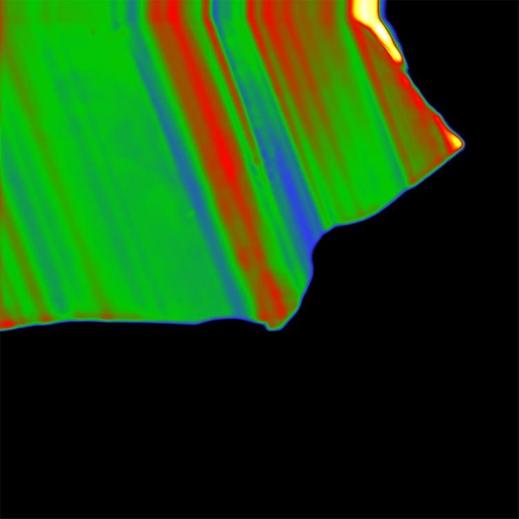 Close-up panchromatic PMT intensity image of a zircon grain.