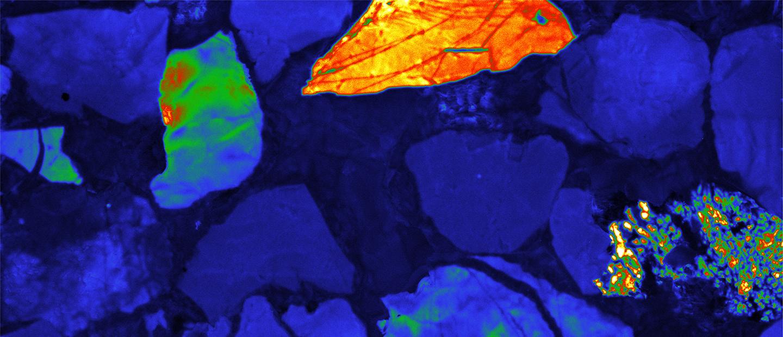 蓝色掺杂黄绿色的沉积岩阴极发光图