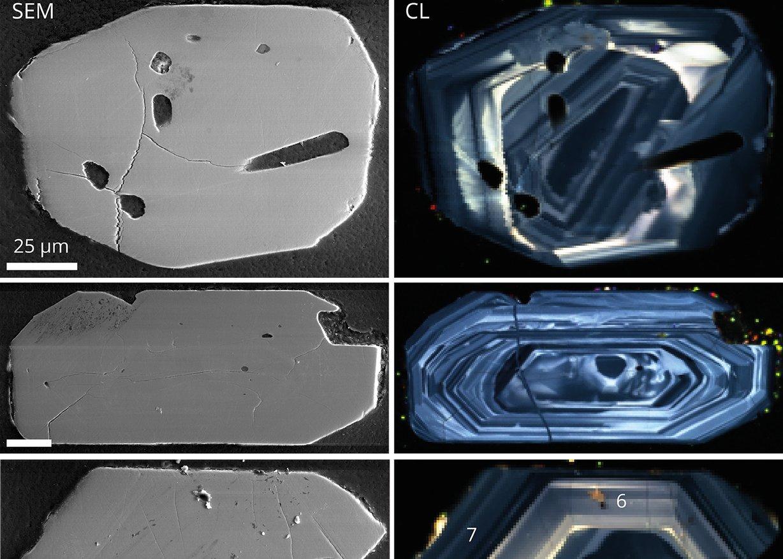 Cathodoluminescence large-area maps of zircons