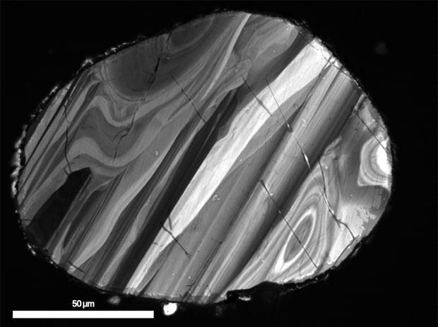 Cathodoluminescence (CL) intensity data of a zircon crystal