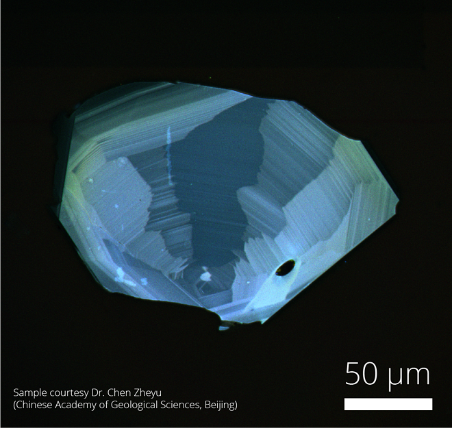 Intensity mapping of a zircon imaged with SEM cathodoluminescence and SPARC cathodoluminescence detector