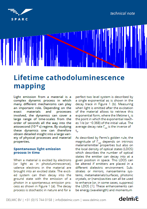 Thumbnail of application note on lifetime cathodoluminescence mapping