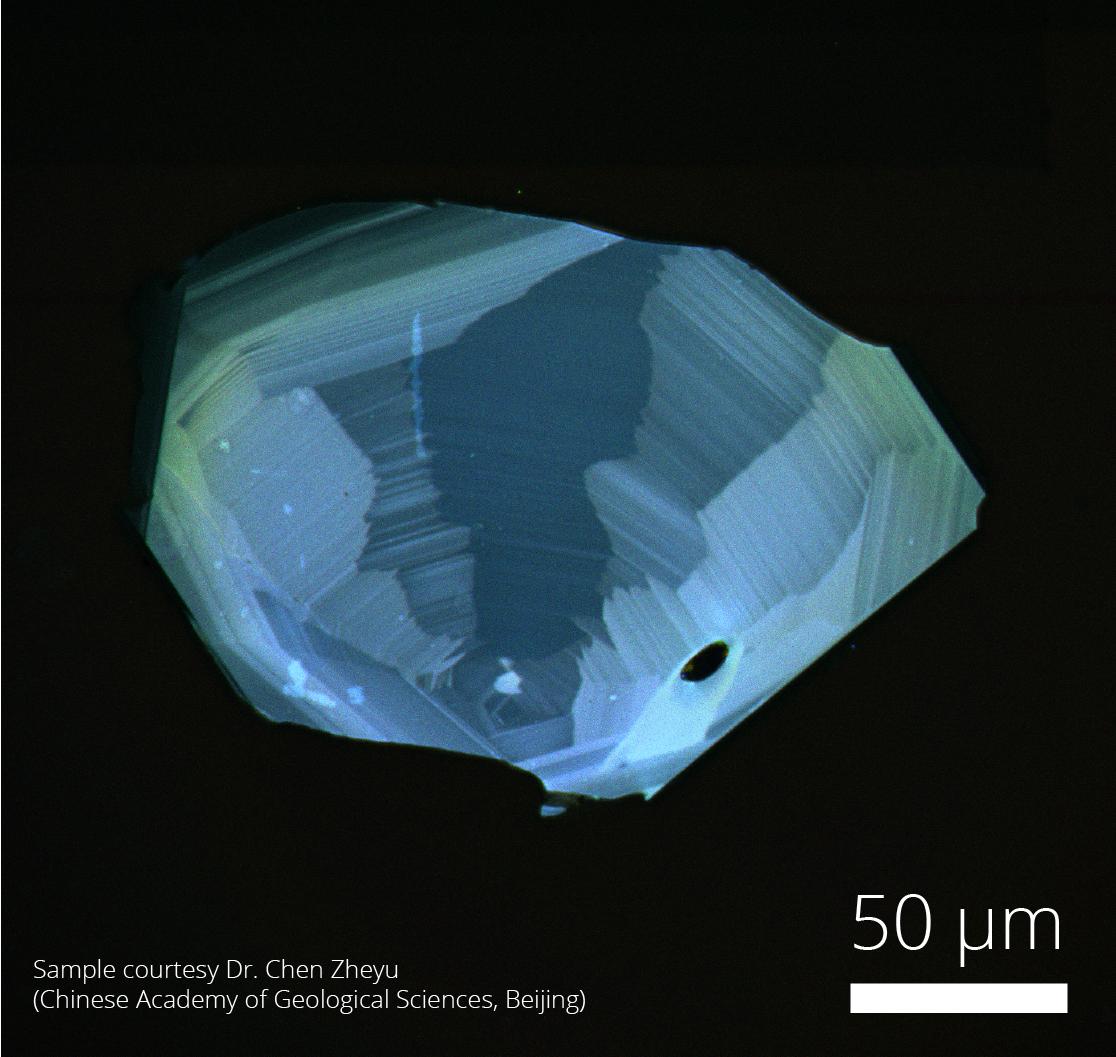 Cathodoluminescence image of a zircon